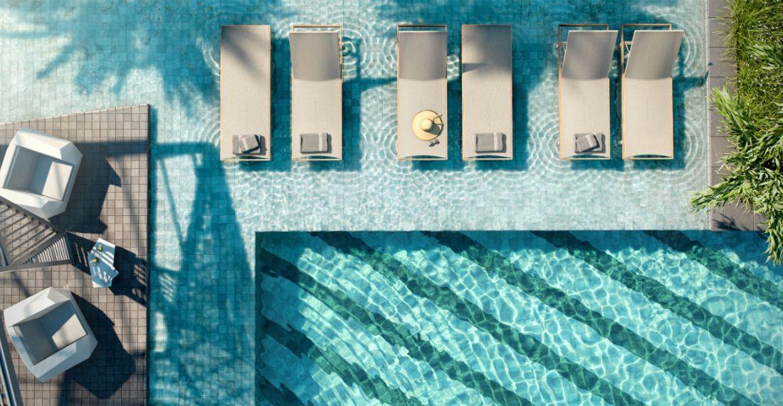 e Ilustração Artística do Detalhe da Piscina e da Pool House