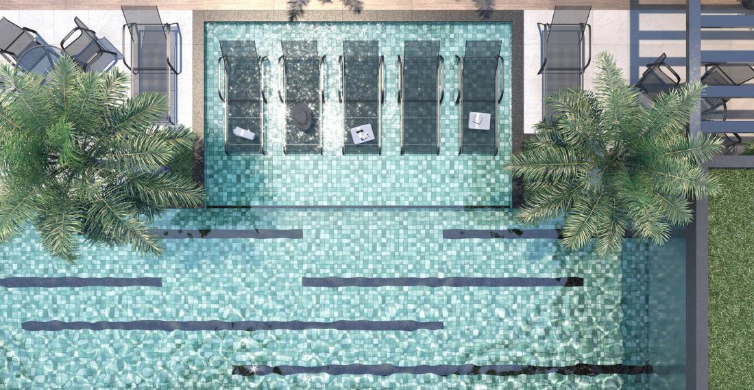 Ilustração Artística da Piscina com Deck Molhado