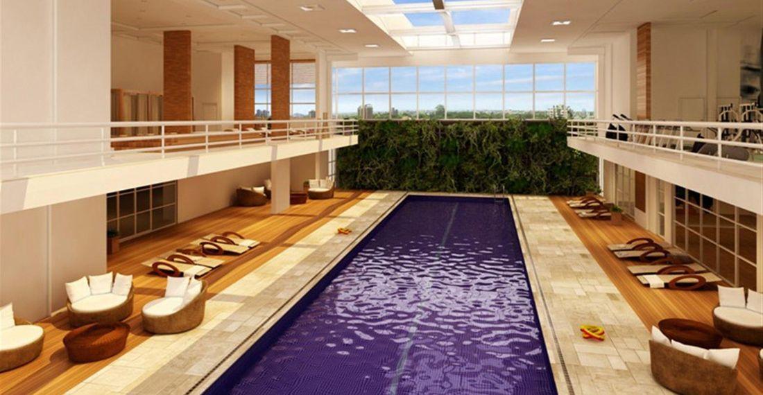 Perspectiva ilustrada da piscina coberta com raia de 25 metros e pé-direito triplo